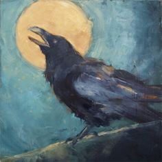 Painting of a Raven gawking