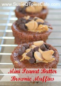 Amish Friendship Bread Stater Mini Peanut Butter Brownie Muffins from SusieQTpies Cafe