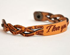 Braided Leather Bracelet with a Custom Laser Engraved, Personalized Couple…
