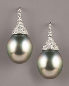 Assael  Diamond-Topped Tahitian Earrings...o my