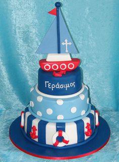 Sailor cake Sailor Cake, Sailor Theme, Beautiful Cakes, Amazing Cakes, Fondant Cakes, Cupcake Cakes, Nautical Cake, Nautical Party, 1st Boy Birthday