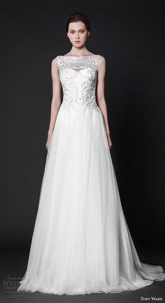 tony ward 2016 bridal bateau neckline sleeveless embroidered bodice modified a line wedding dress eglantine