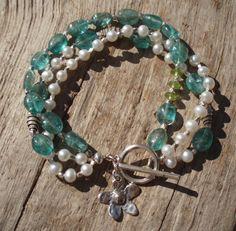 Apatite pearl peridot & fine silver bracelet by kudzupatch on Etsy