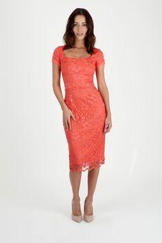 Rimini Coral Lace Dress $200