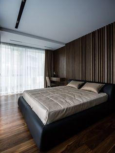 bedroom organization ideas modern dark ground lamella-wound black leather bed