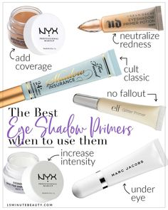 My favorite eye shadow primers! I've tried hundreds of these primers, and there are some differences between them. These are the ones that have worked the best for me.