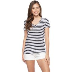Splendid Venice Stripe V-Neck Tee ($64) ❤ liked on Polyvore featuring tops, t-shirts, white, white tee, striped t shirt, splendid t shirts, v neck tee and white v neck tee