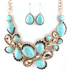 Liz Necklace Set in Turquoise, Black, and Champagne