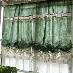 Amazon.com: Victorian Green Gingham with Crochet Lace Adjustable Balloon Curtain: Home & Kitchen