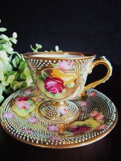 4:00 Tea...Old Nippon...Brightly colored floral, beaded teacup and saucer, 1908-1930