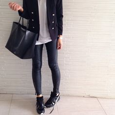 Leather pants kind of Monday #Chanel trainers #helmutlang pants #Givenchy tote