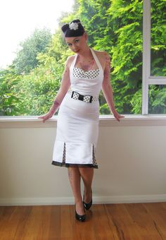 "1950s ""Bridget"" Pin up White Wiggle Halterneck Wedding Dress with Polka Dot Kick Pleats and Belt - Custom made to fit. $190.00, via Etsy."