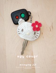 Hello Kitty Key Cover Crochet PATTERN SYMBOL DIAGRAM by kittying.com