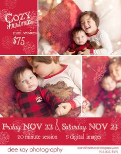 christmas mini sessions, set up: bed with bunches of pillows, red snowflakes hung from above, used free bokeh overlay to create glitter look