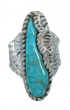 Southwest Sterling Silver Turquoise Ring Size 6-3/4 YX85626 $89.99