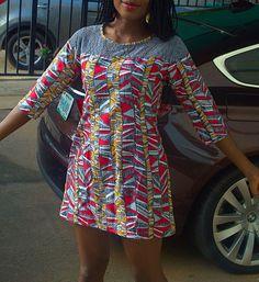 Africain impression prêt à porter la robe avec dentelle au crochet et poches | Tribal robe imprimée, africain, vêtements africains, robe imprimée africain