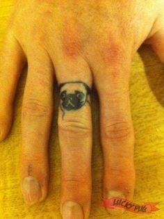 Finger Pug Tattoo On: Andy N Colin, UK By: Cheryl of Birmingham Birmingham Ink - www.luckypug.com