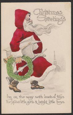 Christmas-Wall-Santa-Profile-Red Robe-Church-Toys-Gun-Rifle-Antique Postcard #Christmas