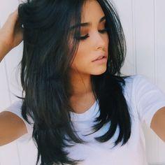 Beautiful dark layered hair