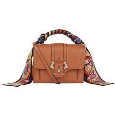 Paula Cademartori Dun Dun Shoulder Bag (3,390 SAR) ❤ liked on Polyvore featuring bags, handbags, shoulder bags, top handle leather handbags, leather purses, brown shoulder bag, real leather purses and shoulder handbags