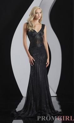 Prom Dresses, Celebrity Dresses, Sexy Evening Gowns - PromGirl: Full Length Beaded V-Neck Formal #prom #dresses #gowns