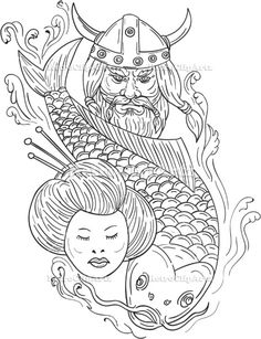 Viking Carp Geisha Head Black and White Drawing Vector Stock Illustration.   Drawing sketch style illustration of a head of a norseman viking warrior raider barbarian wearing horned helmet with beard, koi carp fish diving and geisha girl viewed from front set on isolated white background. #illustration #VikingCarpGeishaHead