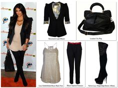 Match Kim Kardashian's look with Wag World™    *Structured Lapel Blazer*  *Lace Embellished Racer Back Vest*  *Black Tapered Trousers*  *London City Bag*  *Velvet Lace Thigh High Boots 140mm*    http://wagworldboutique.co.uk/ #kardashian #kimkardashian