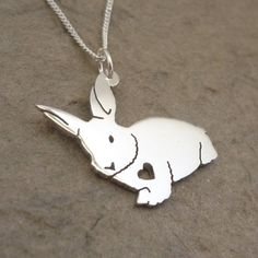 Fluffy Bunny Sterling Silver Pendant on Chain by starbrightgirl