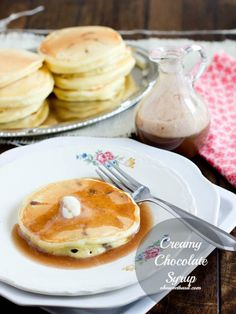 Oh my...creamy chocolate syrup for your morning pancakes! ohsweetbasil.com #chocolatesyrup