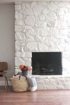 Just LOVE this painted rock stacked stone masonry fireplace chimney! greige des… Just LOVE this painted rock stacked stone masonry. Painted Rock Fireplaces, Painted Stone Fireplace, Stone Fireplace Makeover, Simple Fireplace, Fireplace Update, Paint Fireplace, White Fireplace, Fireplace Remodel, Fireplace Design