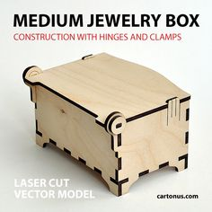 Medium jewelry box with hinges and clamps. Made of plywood. Vector model for laser cutter. Back view.