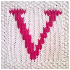 PDF Knitting pattern capital letter V afghan / blanket square - PDF will be emailed after purchase         June 01, 2015 at 06:34AM