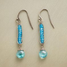 "EXCLAMATION EARRINGS -- Profess your love of blue and sense of style in apatite danglers punctuated by a faceted drop with some serious sparkle. USA. Sterling silver wires. 1-5/8""L."