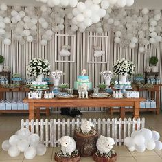 Create your perfect party with various decorations like the picture below!Choose from some of plain and themed birthday party decorations including banners, bunting, paper decorations, pom poms,baloon and more. Baptism Themes, Baptism Party, Baby Shower Parties, Baby Shower Themes, Baby Showers, Aid Adha, Candy Bar Bautizo, Birthday Party Decorations, Birthday Parties