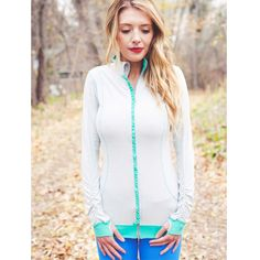 The Sweet Stripe Full Zip, Seafoam / Grey @Brittany Mullins (Eating Bird Food)