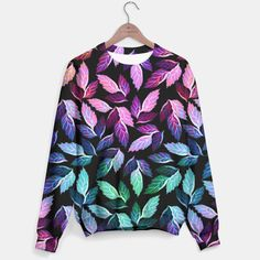 Tropical Colors Falling Leaves Sweater, Live Heroes