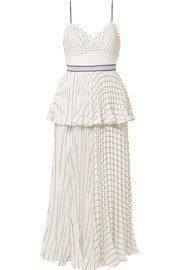Tiered striped crepe midi dress