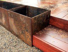 Image result for corten steel planters deck