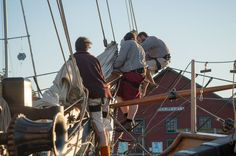 Hawaiian Chieftain crew work at the bowsprit during a visit to Coupeville, Wash. #travel #sailing #Seattle http://historicalseaport.org/