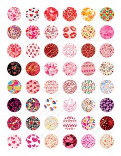 INSTANT DOWNLOAD  Valentines Day Patterns digital collage sheet - 48 unique round images for scrapbooking, party favor toppers, gift wrap stickers,