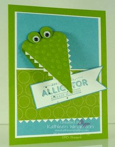 www.kathleenstamps.com -- Fun alligator card made with the Stampin' Up! 2014 Sale-A-Bration See Ya Later stamp set and Decorative Dots embossing folder.  Thanks for checking out my PIN    Additional details can be found on my blog here:  http://www.kathleenstamps.com/2014/02/see-ya-later-workshop-preview.html#.UvVhL4VWVX9
