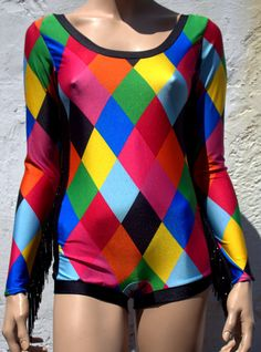 Harlequin Circus Fringed Sleeved Leotard SIZE SMALL by LaWoof