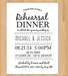 Rehearsal Dinner Invitation By Onthegoprints 9 00
