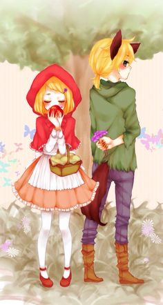 rin and len are just too adorable Little Red Ridding Hood, Red Riding Hood, Anime Couples, Cute Couples, Rin E Len, Big Bad Wolf, Red Hood, Love Pictures, Mobile Wallpaper