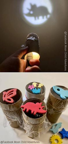 Toilet Paper Rolls Projectors Wow, this is definitely one of the most creative projects we have come upon while searching for the best paper roll DIY ideas today. The projectors are genius in their simplicity! games for kids ideas Toilet Roll Craft, Toilet Paper Roll Art, Kids Toilet, Toilet Paper Roll Crafts, Diy Paper, Cardboard Rolls, Cardboard Crafts, Cardboard Furniture, Toddler Crafts