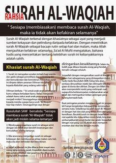 Hasil gambar untuk kelebihan surah al waqiah Prayer Verses, Quran Verses, Quran Quotes, Hijrah Islam, Doa Islam, Islamic Inspirational Quotes, Islamic Quotes, Religious Quotes, Arabic Quotes