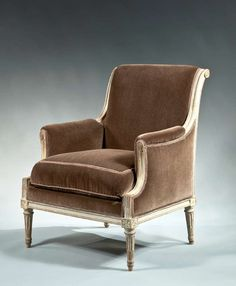 Louis XVI Grey Painted Bergere Stamped J B Lelarge   From a unique collection of antique and modern bergere chairs at https://www.1stdibs.com/furniture/seating/bergere-chairs/