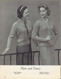 Cable & Popcorn • 1950s Cardigan Sweater Patterns • 50s Vintage Knitting Pattern • Retro Women's Knit Digital PDF by TheStarShop on Etsy