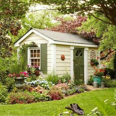 Ideal Garden Shed Designs For Your Garden Area Outdoor Storage Sheds, Outdoor Sheds, Outdoor Rooms, Outdoor Living, Garden Shed Diy, Dream Garden, Home And Garden, Shed Building Plans, Shed Plans