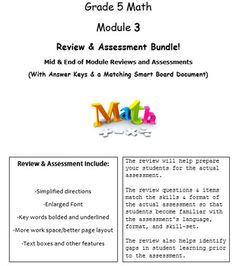 Grade 5, Math Module 3, Review & Assessment Bundle w/keys! Math Writing, Writing Prompts, Paragraph Writing, Writing Worksheets, Math Key Words, Grade 6 Math, Grade 2, Blank Lesson Plan Template, Smart Board Lessons